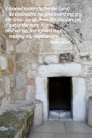 I waited patiently for the Lord; he inclined to me and heard my cry. He drew me up from the desolate pit, out of the miry bog, and set my feet upon a rock, making my steps secure. .--Psalm 40.1-2