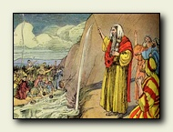 Moses strikes the rock and water springs