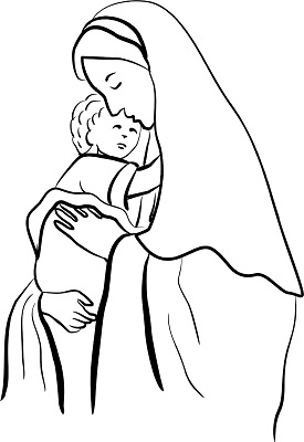Virgin and baby jesus coloring page