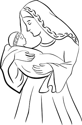 Virgin mary and baby jesus coloring page