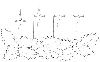 advent candle - second week - coloring page