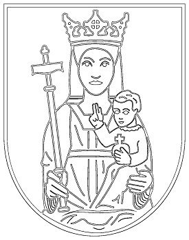 virgin and child in coat of arms coloring page